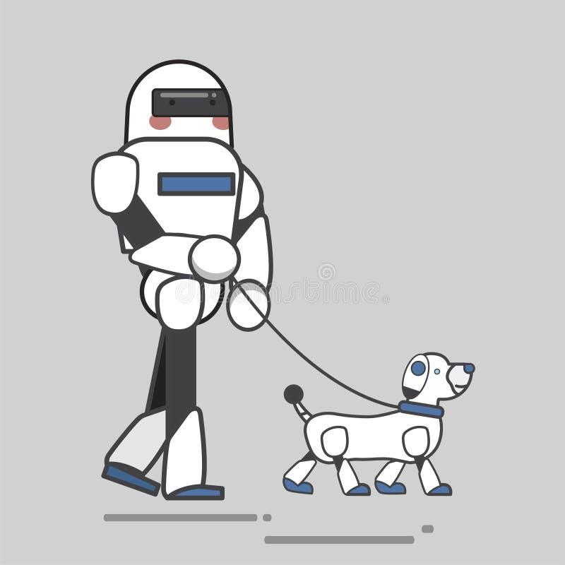 Illustration des Roboters einen Roboterhund für einen Weg nehmend lizenzfreie abbildung