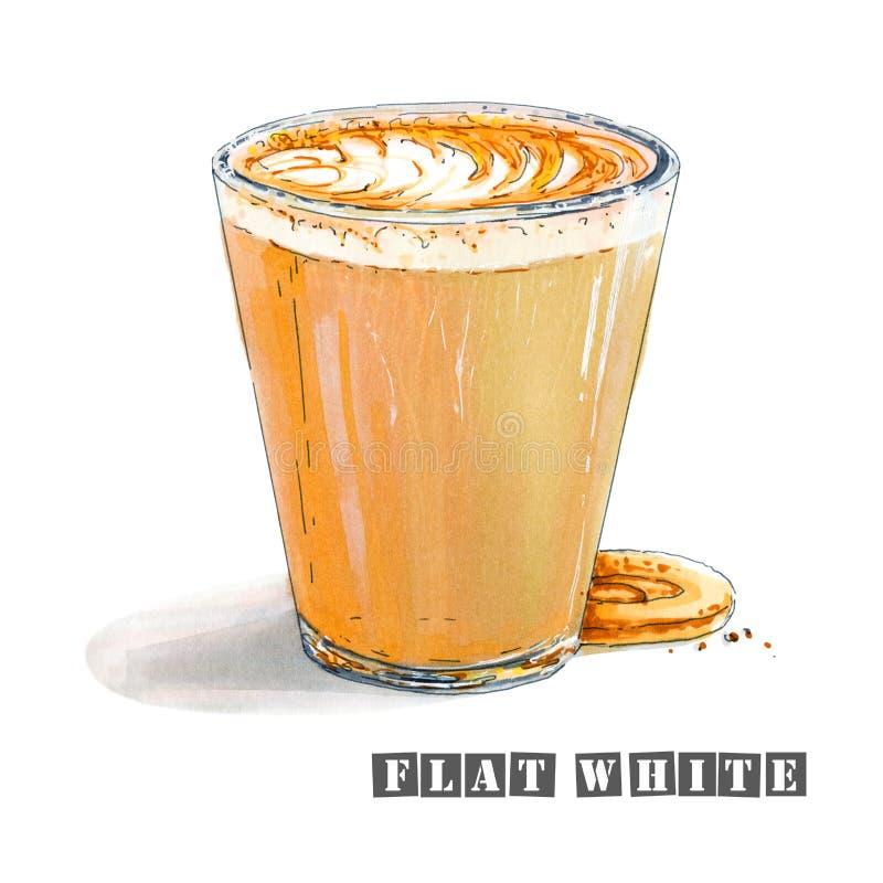 Illustration des süßen flachen Weiß mit einem köstlichen Schaum in einem transparenten Glas vektor abbildung