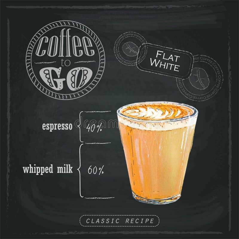 Illustration des süßen flachen Weiß mit Kaffee mit köstlichem Schaum in einem transparenten Glas stock abbildung