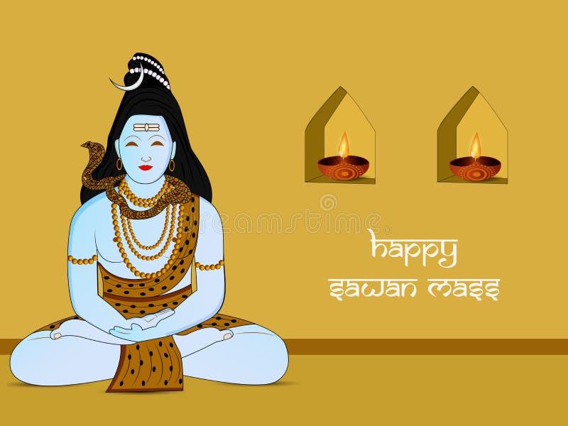 Illustration des sawan Massenhintergrundes des hindischen Festivals vektor abbildung