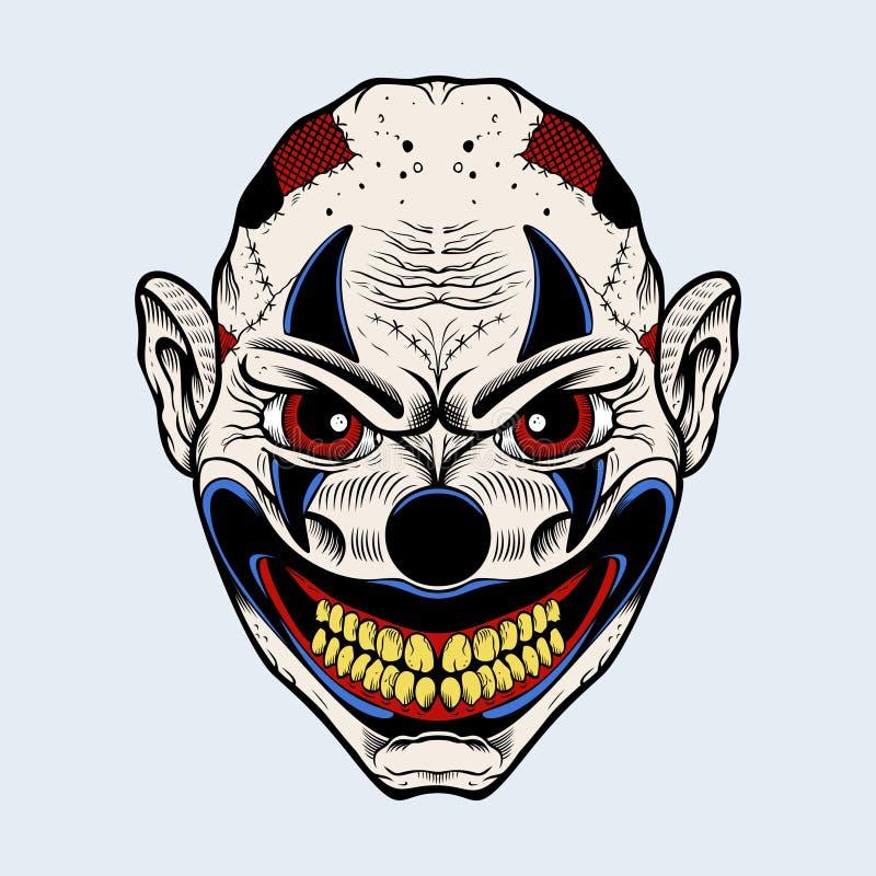 Illustration des schlechten Clowns mit roten Augen lizenzfreie abbildung