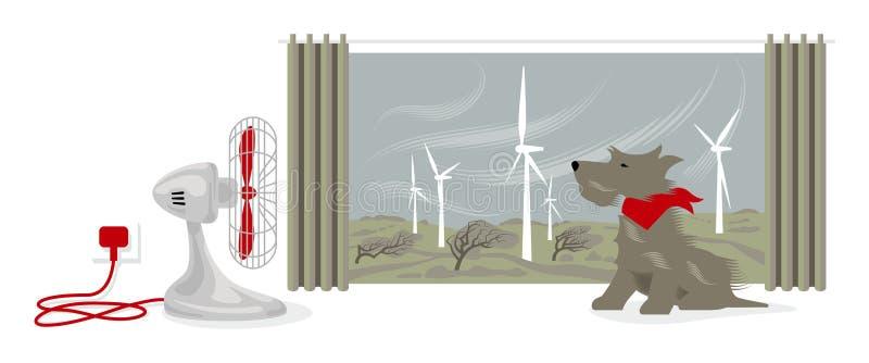 Illustration des Schreibtischfans ein Hundegesicht durchbrennend Draußen treibt Wind einen Windpark und verbiegenden Bäume an lizenzfreie abbildung