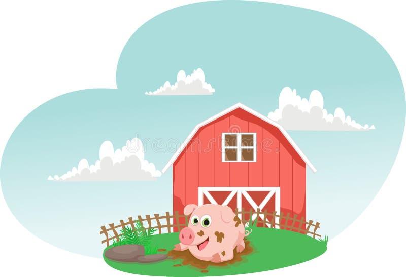 Illustration des Schweinspiels in einer Schlammpfütze Landwirt- und Kätzchenzufuhrpferd vektor abbildung