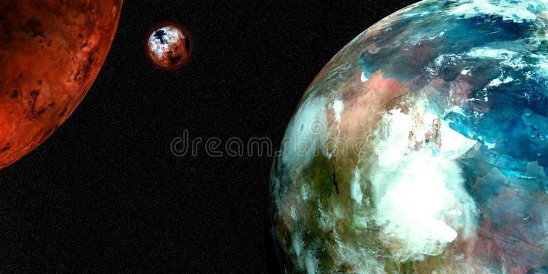 Illustration des Sciencefictions-Raum-Hintergrund-3D Extrem ausführliche und realistische hohe Auflösung Geschossen vom Raum Elem stock abbildung