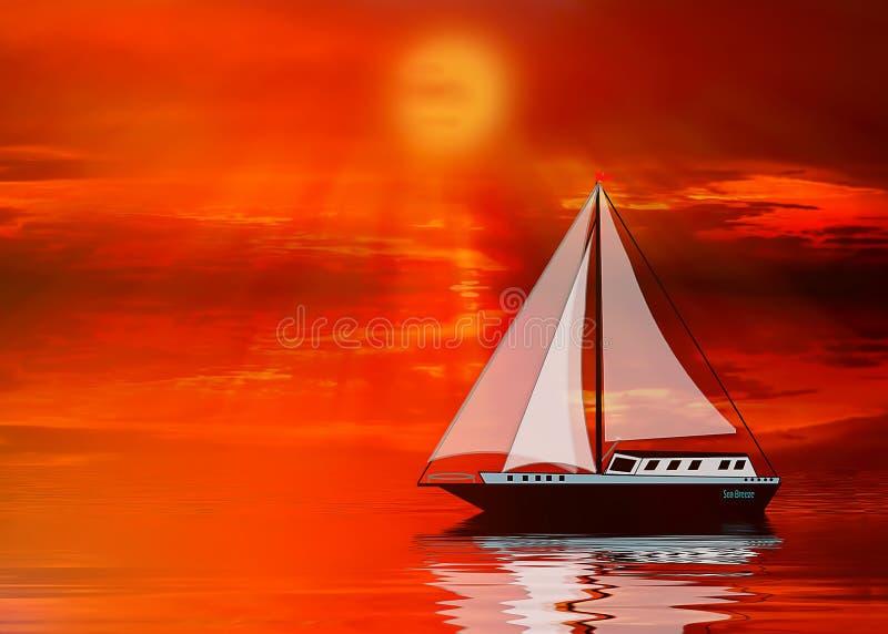 Illustration des Segelbootsegelns bei Sonnenuntergang stock abbildung