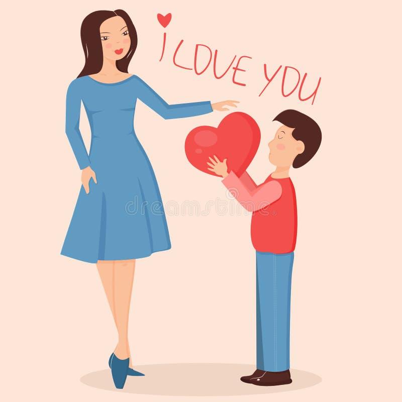 Illustration des Sohns großes Herz gebend der Mutter vektor abbildung