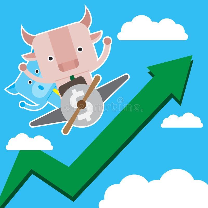 Illustration des Stier- und Schweinsymbols der Börse neigen stockbilder
