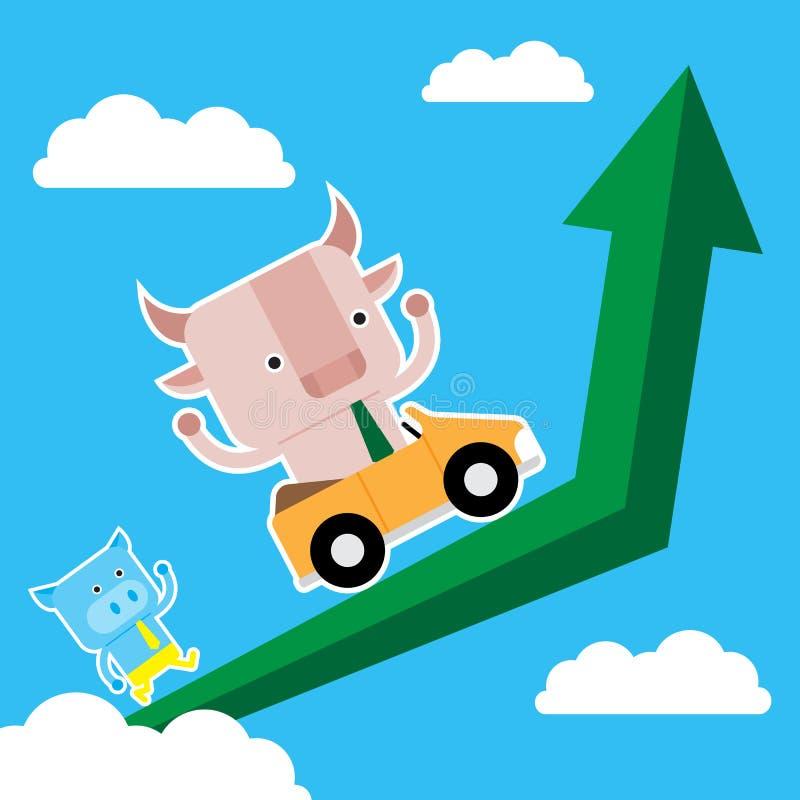 Illustration des Stier- und Schweinsymbols der Börse neigen stockfotos