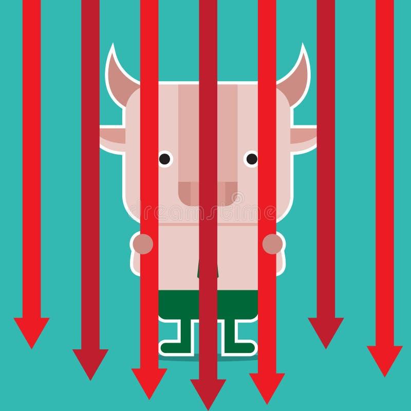 Illustration des Stiersymbols der Börsetendenz stockfoto