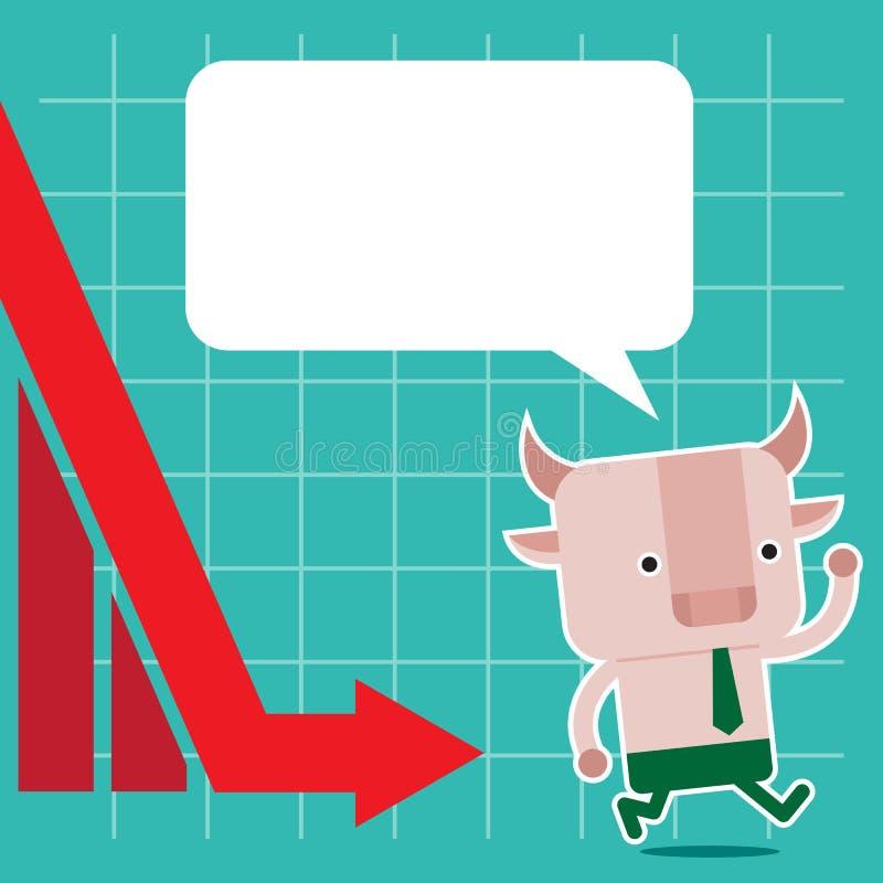 Illustration des Stiersymbols der Börsetendenz lizenzfreie stockfotos