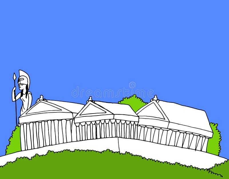 Illustration des Tempelkomplexes auf die griechische Akropolis vektor abbildung