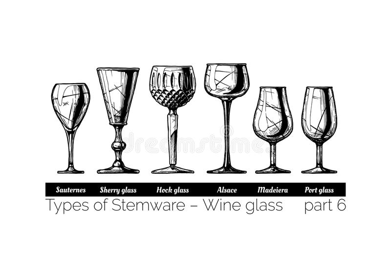 Illustration des types de Stemware illustration libre de droits