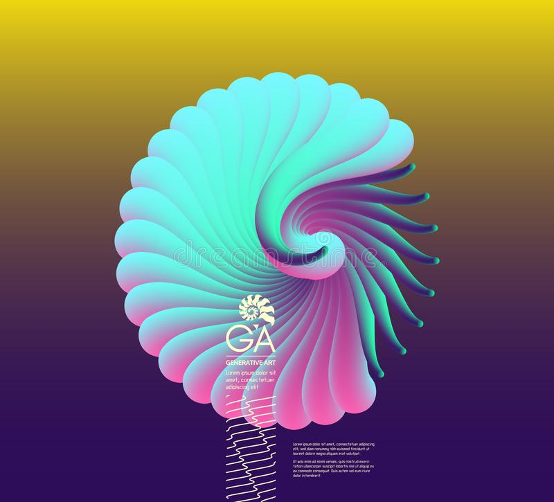 Illustration des Vektors 3D mit Muschel Nautilus Gegenstand mit glatter Form vektor abbildung