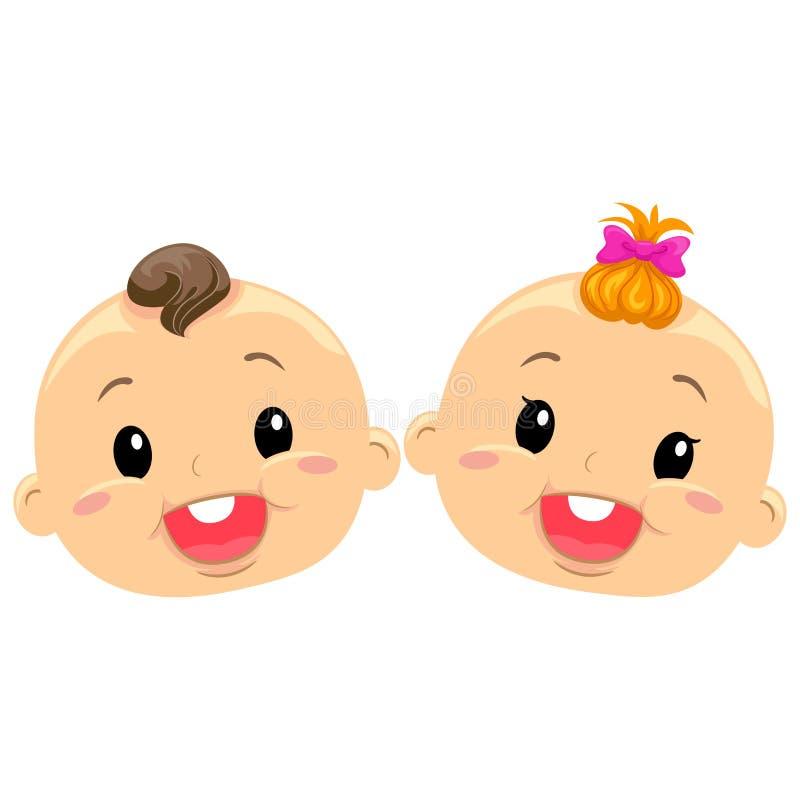 Illustration des visages jumeaux de bébé illustration libre de droits