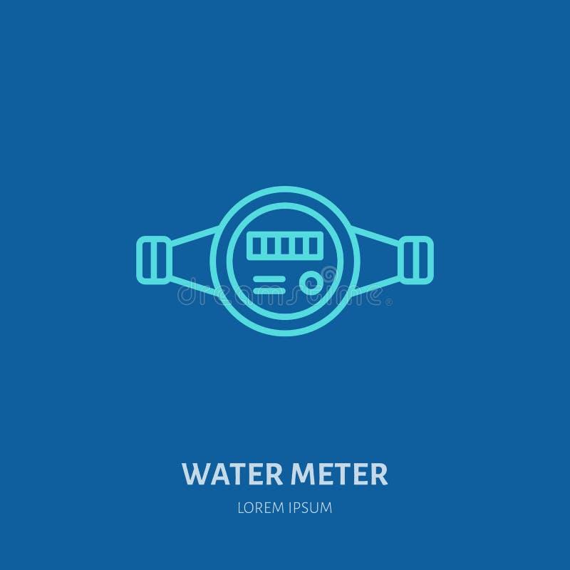 Illustration des Wasserzählers, Klempnerausrüstung Flache Linie Ikone des Klempnerarbeitvektors Reparaturservice-Logo lizenzfreie abbildung