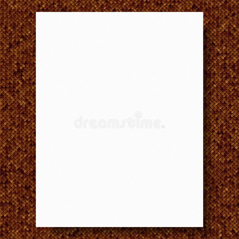 Illustration des weißen leeren Papiers auf braunem Gewebehintergrund lizenzfreie abbildung