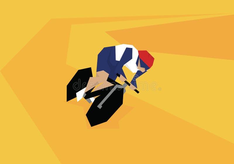 Illustration des weiblichen Radfahrers konkurrierend am Velodrome lizenzfreie abbildung