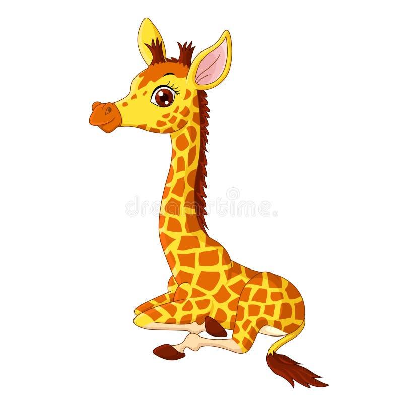 Illustration des wenig Giraffenkalbsitzens stock abbildung