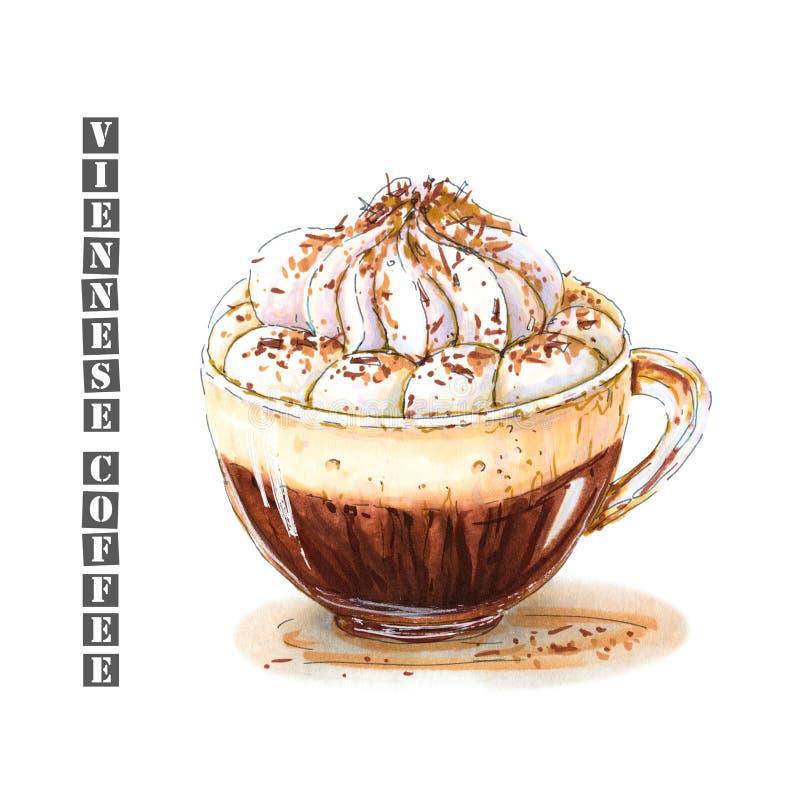 Illustration des Wiener Kaffees mit der Schlagsahne besprüht mit Schokoladensplittern in einer Glasschale vektor abbildung