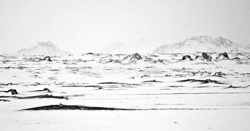 Illustration of Deserted Winter Landscape royalty free stock photo