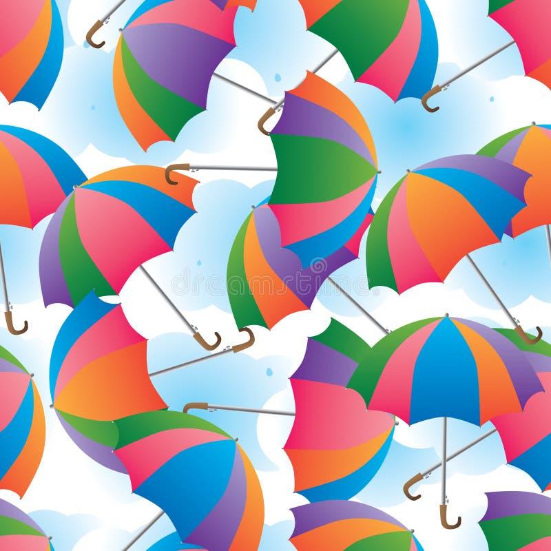 Umbrella colorful rotate cloud background seamless pattern stock illustration
