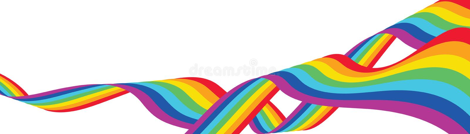 Rainbow line silk fly banner. This illustration is design abstract freedom rainbow line silk light fly like a flag and wave in banner size on white color royalty free illustration