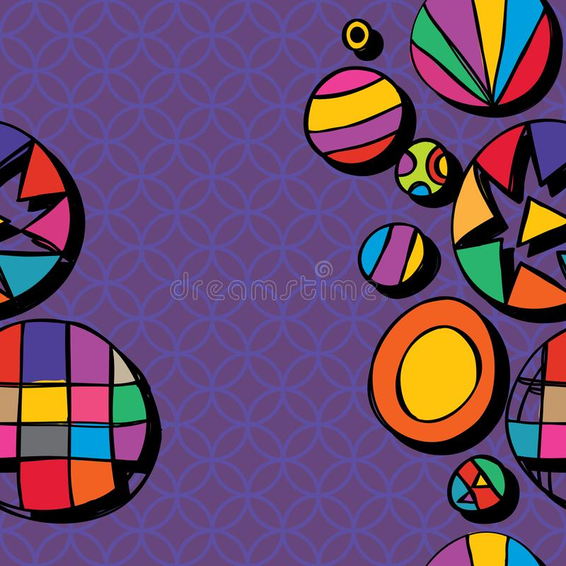Circle free drawing golden ratio style seamless pattern stock illustration