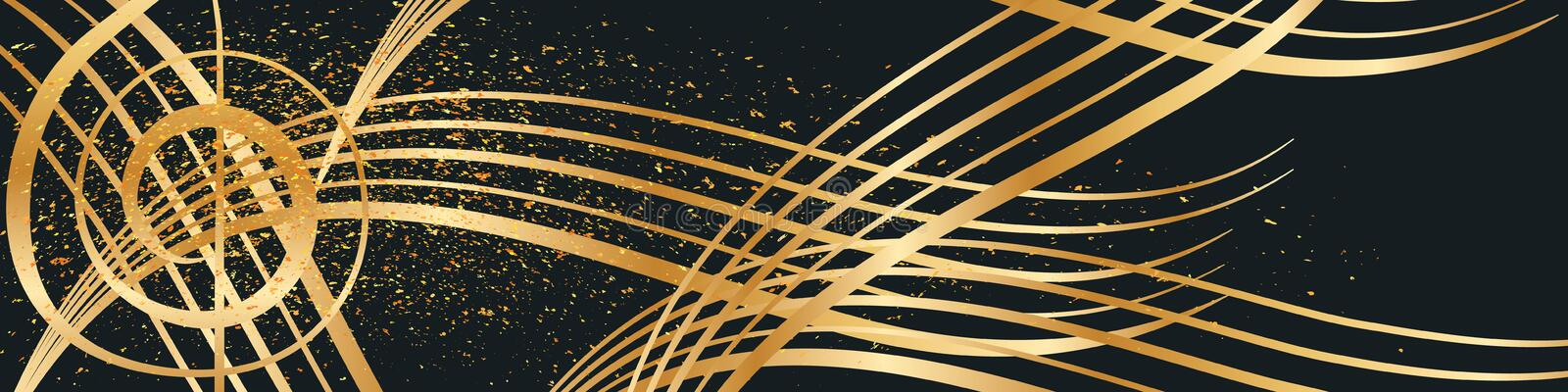 Music gold line golden glitter banner vector illustration