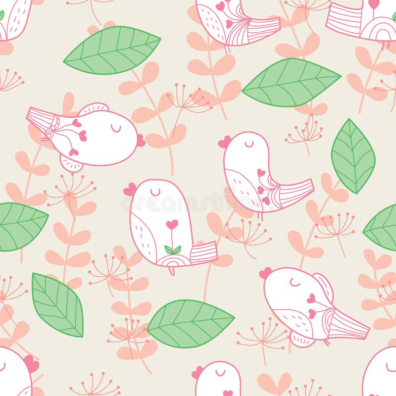 Bird leaf pastel color seamless pattern stock illustration