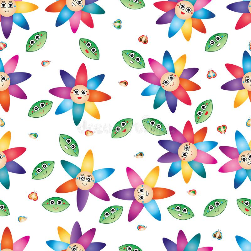 Cartoon leaf butterfly flower smile colorful petal seamless pattern royalty free illustration
