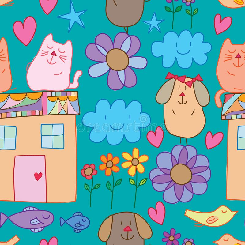 Cat dog fish bird flower house element seamless pattern. This illustration is design cat, dog, fish, bird, flower, house and elements in seamless pattern vector illustration