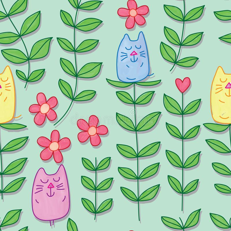 Cat leaf stylish watercolor seamless pattern. This illustration is design cat leaf stylish with watercolor in green color background seamless pattern royalty free illustration