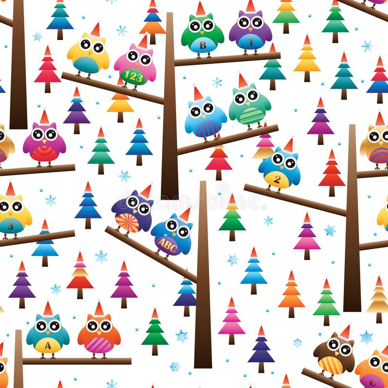 Christmas owl stand tree seamless pattern stock illustration
