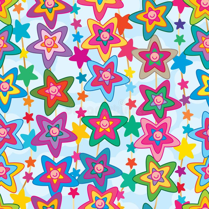 Star flower cute face vertical seamless pattern royalty free illustration