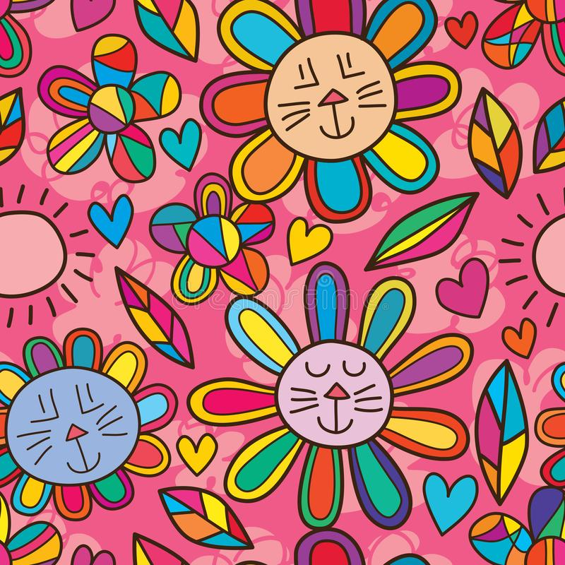 Cat rabbit flower sun modern petal seamless pattern vector illustration