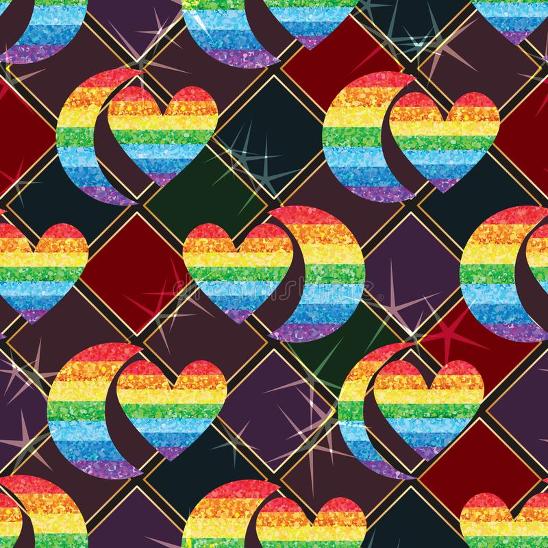 Half moon love rainbow glitter symmetry pair seamless pattern effect vector illustration