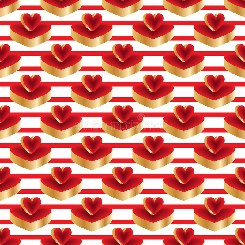 3d bright color red gold platform seamless pattern. This illustration is design 3d bright color red gold platform in symmetry and stripe horizontal seamless vector illustration