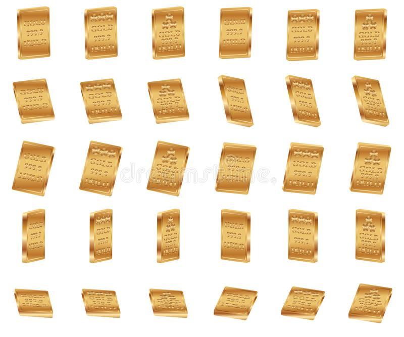 3d gold bar 1kg set. This illustration is design 3d more thin gold bar GOLD 999.9 1KILO in 3 set style on white color background isolated object stock illustration