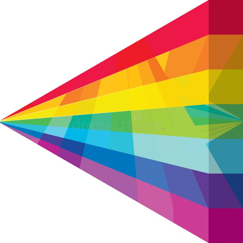 3d rainbow triangle cover effect CMYK. This illustration is design 3d rainbow triangle in cover template on white color background effect. CMYK royalty free illustration