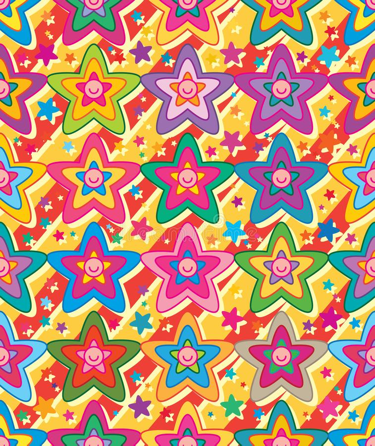 Star flower cute face symmetry diagonal seamless pattern vector illustration