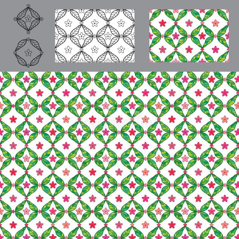 Diamond shape leaf flower symmetry seamless pattern set royalty free illustration