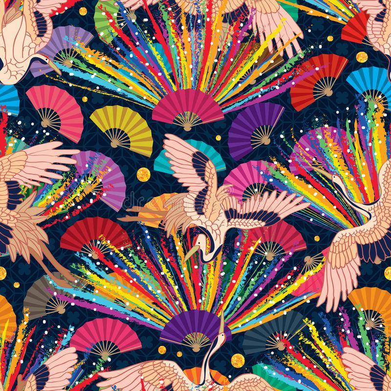 Chalk rainbow Japan crane fan seamless pattern royalty free illustration