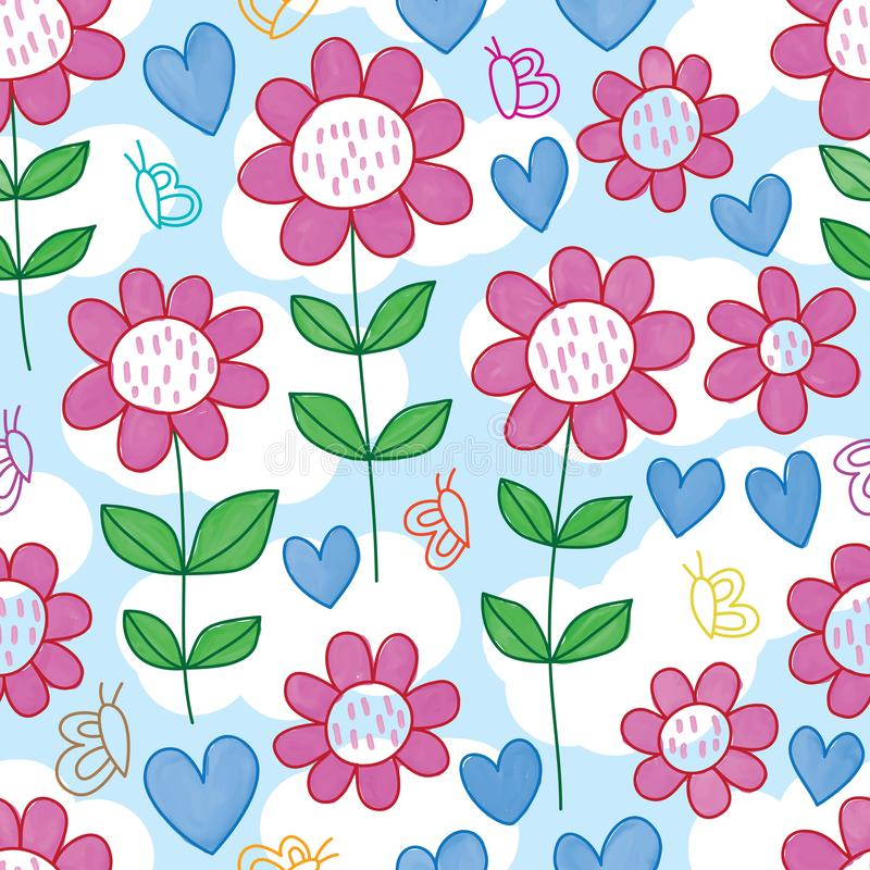 Butterfly line flower love watercolor seamless pattern royalty free illustration
