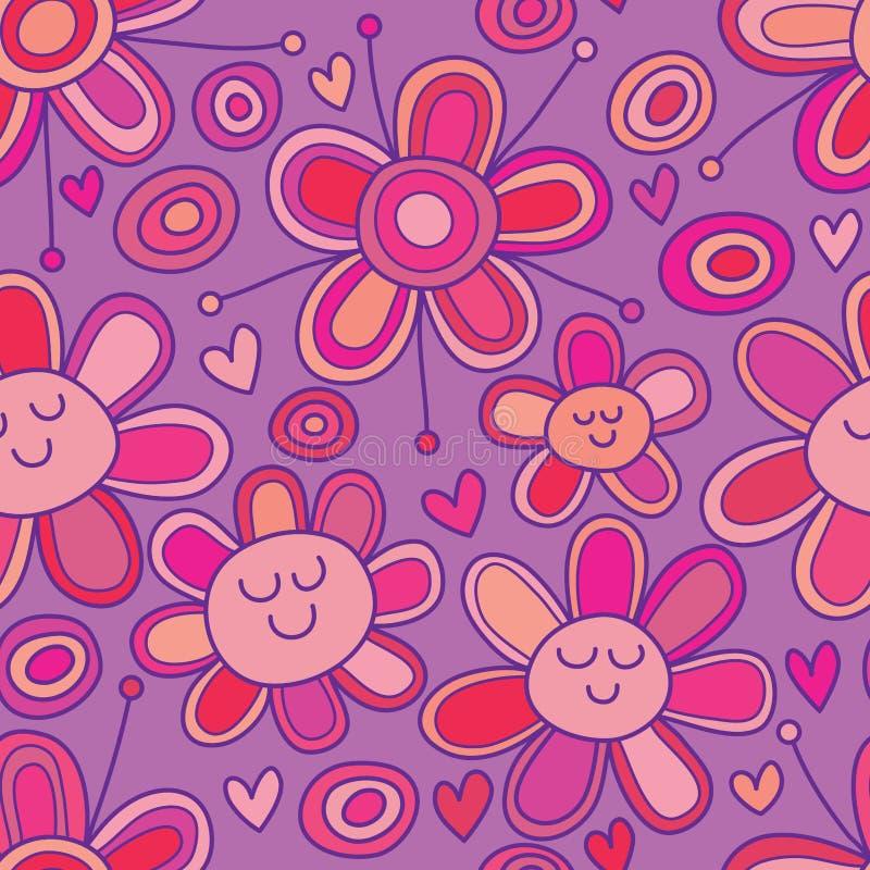 Flower circle love cartoon drawing seamless pattern stock illustration