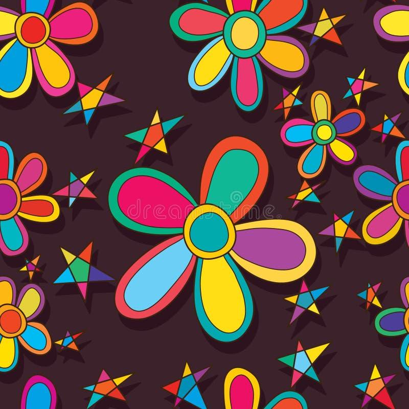 Flower star friend seamless pattern vector illustration