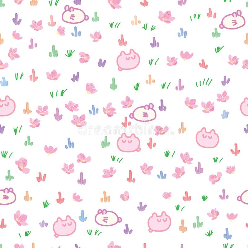 Japan grasses cherry cartoon watercolor seamless pattern stock illustration