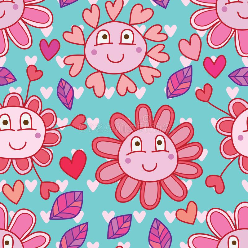 Love flower cute cartoon seamless pattern symmetry background. This illustration is design and drawing love and cute flower in symmetry love background with vector illustration