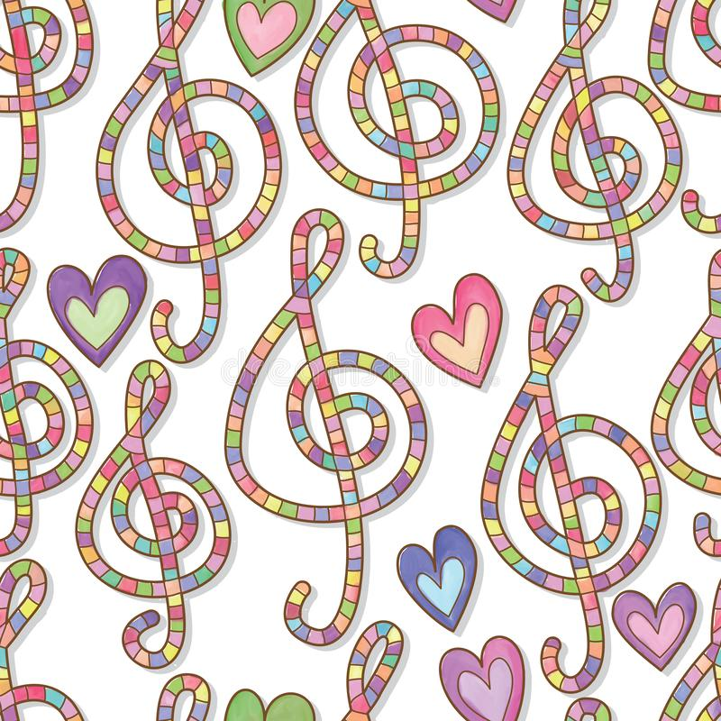 Music love many color watercolor seamless pattern. This illustration is design and drawing music love with many color watercolor on white color seamless pattern royalty free illustration