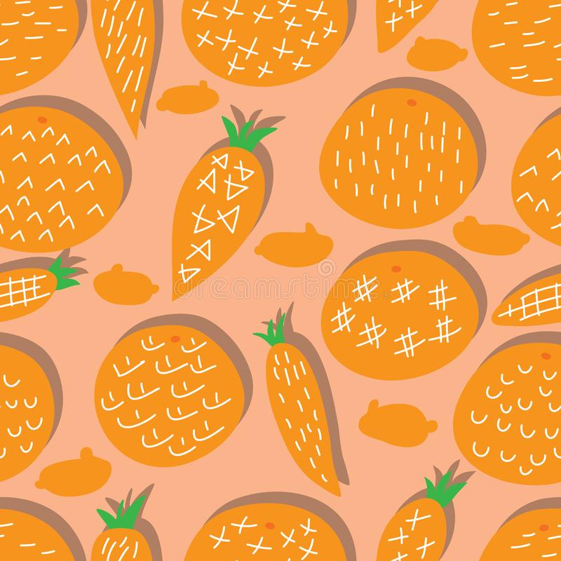 Orange color carrot free style rabbit decor seamless pattern. This illustration is design and drawing orange color with orange and carrot free style rabbit royalty free illustration