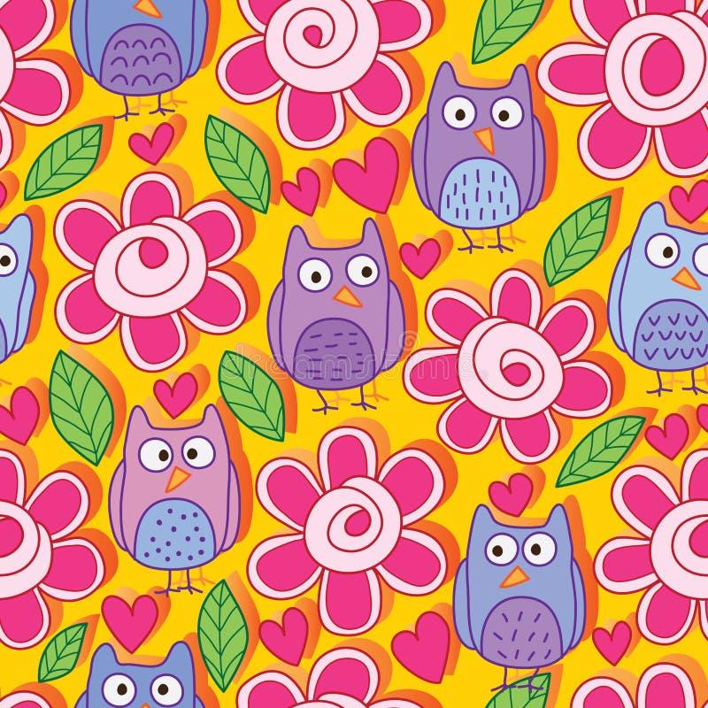 Owl flower leaf silly cute orange seamless pattern stock illustration